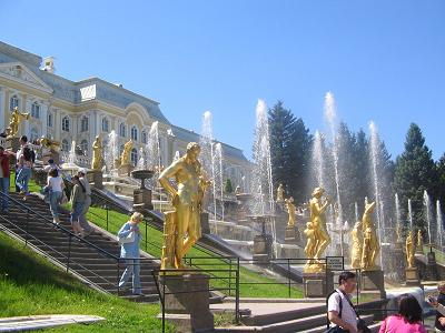 The Peterhof summer palace, located outside St. Petersburg.
